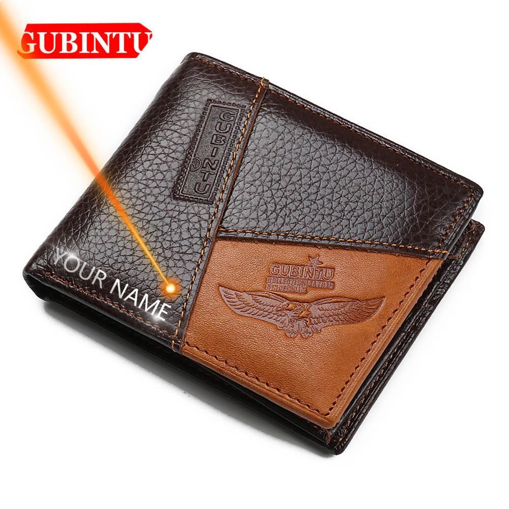 GUBINTU Men Wallets Genuine Cow Leather Short Design Card Holder Passcard Pocket Men Purse High Quality Brand Male wallet|Wallets| |  - title=