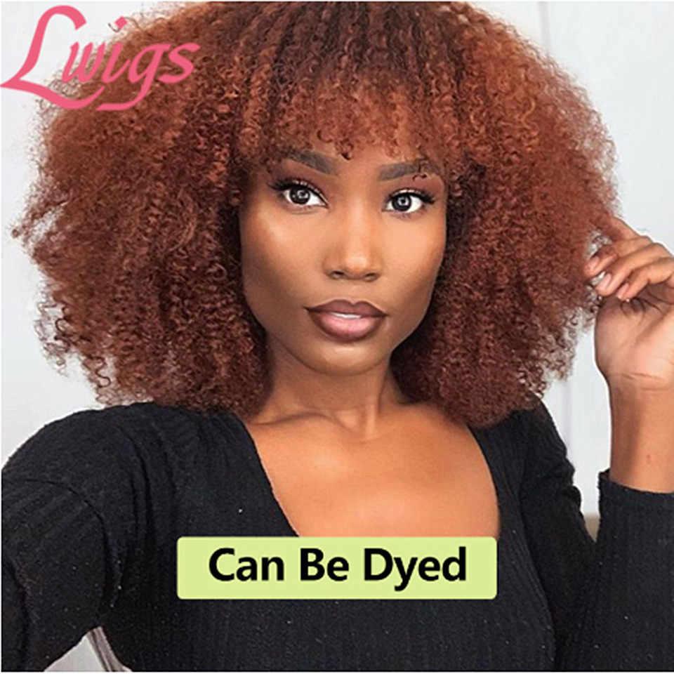 180% gęstości Afro perwersyjne kręcone koronki przodu włosów ludzkich peruki z grzywką krótki Bob 360 koronki przodu peruka dla kobiet pełna 4B 4C Lwigs