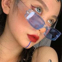 Lüks dikdörtgen güneş gözlüğü kadın 2020 Retro güneş gözlüğü kadın marka şeffaf kadınlar için óculos De Sol Feminino
