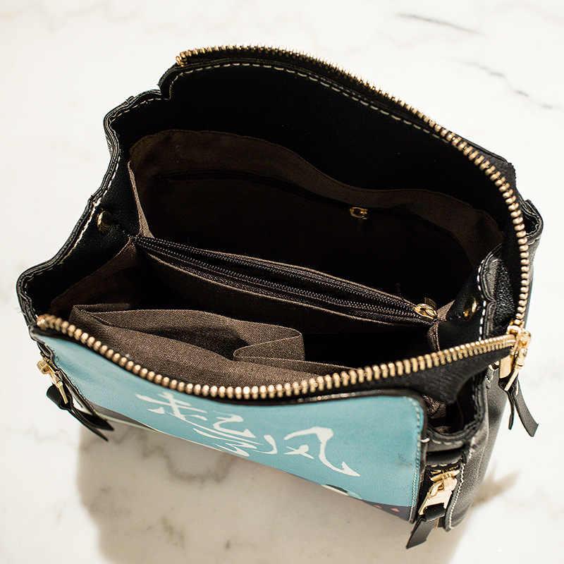 Ougger pequeno crossbody senhoras sacos bolsas estilo preppy azul saco de balde do plutônio com impressão dos desenhos animados para fazer compras