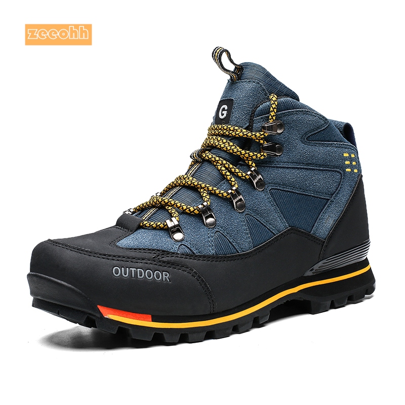 Men High Top Autumn Winter Cow Suede Hiking Boots Rubber Combat Ankle Work Safety Shoes Waterproof Mountain Outdoor Sneakers