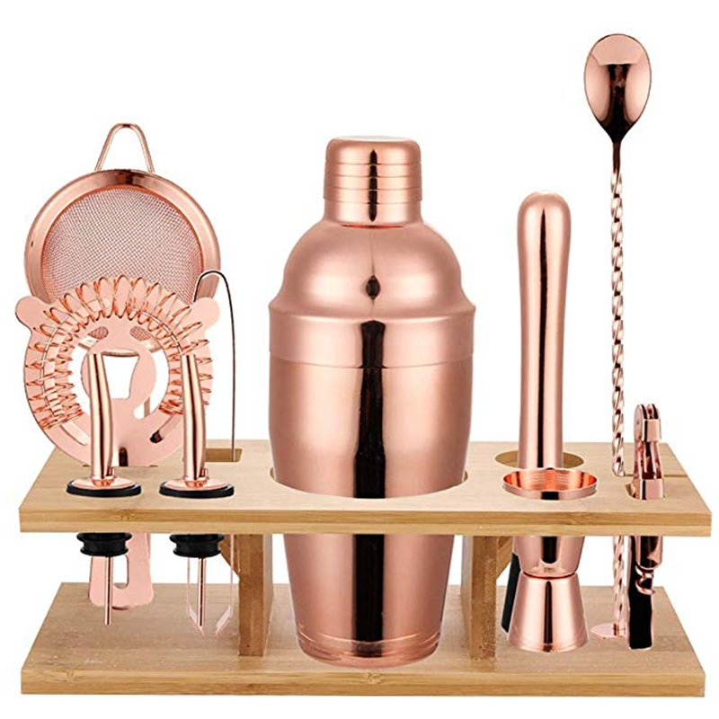 Top Sale 11 Pcs 750ML Cocktail Shaker Y Shiny Stainless Steel British Cocktail Shaker Set Rose Gold Color фото