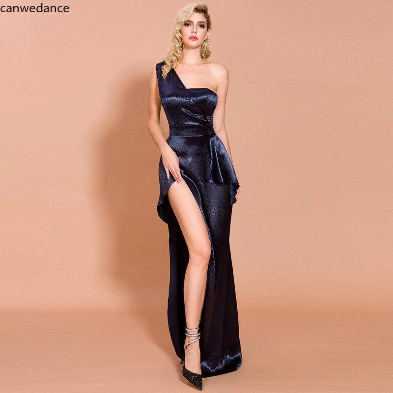 Navy Blue Evening Dress One Shoulder Asymmetrical Side Slit Floor Length Silk Satin Evening Dresses Vestidos De Fiesta De Noche