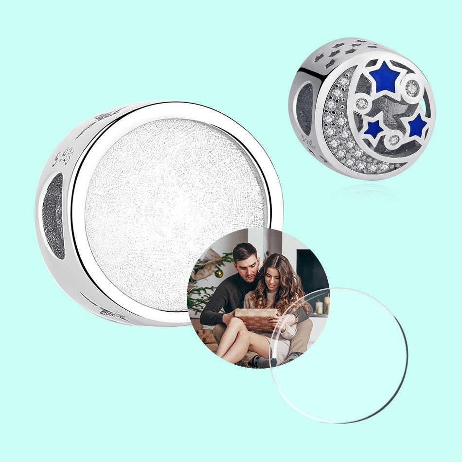 Forewe Baru Asli 925 Sterling Silver Manik Pesona Biru Enamel Bulan Bintang Selamanya Cinta Pesona Fit Gelang Menyesuaikan Foto Diy orang Yahudi
