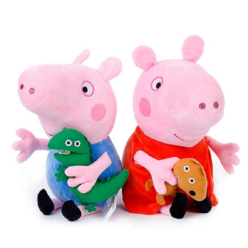 4Pcs set Peppa Pig 19 30cm Original Animal Stuffed Plush Toys Action Figure Model Dolls Pink Pig Family Party For Children Gift in Movies TV from Toys Hobbies