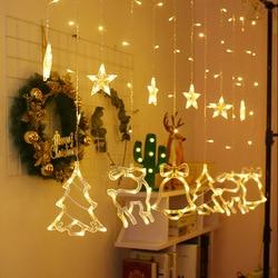 ไฟ Led ผ้าม่านคริสต์มาสตกแต่งโคมไฟ Led โคมไฟวันหยุด Fairy ไฟแขวนชุดดาวต้นคริสต์มาส Elk