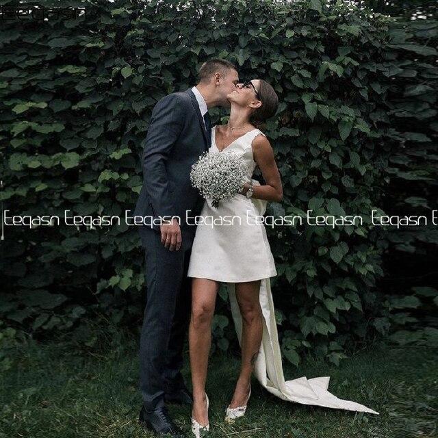 Simple Short Wedding Dresses 2021 Satin V Neck Bride Dress Big Bow on Back White Vestido De Novia Plus Size 1