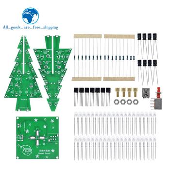 TZT trójwymiarowy 3D choinka bożonarodzeniowa LED zestaw DIY czerwony zielony żółty lampa błyskowa LED zestaw obwodów elektronicznych zabawy Suite tanie i dobre opinie CN (pochodzenie) Nowy REGULATOR NAPIĘCIA Three-Dimensional 3D Christmas Tree LED DIY do komputera -40-+85 DIY KIT electronic module