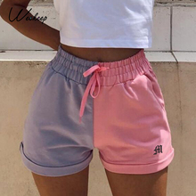Joggers Shorts Sweatpants Patchwork Streetwear High-Waist Weekeep Women Summer Hot Drawstring