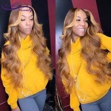 Braziliaanse Remy Haarkant Golvend Ombre Blonde Highlights Kleur 180% Dichtheid Midden Deel Pre Geplukt Droom Schoonheid