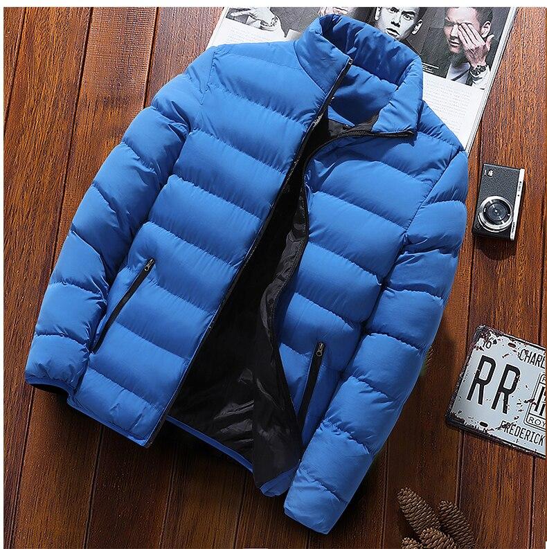 Winter Warm Jacket Men Wave Cut Casual Casaco Masculino Slim Stand Collar Parka Hombre Zipper Abrigo Hombre Coat Men Clothes