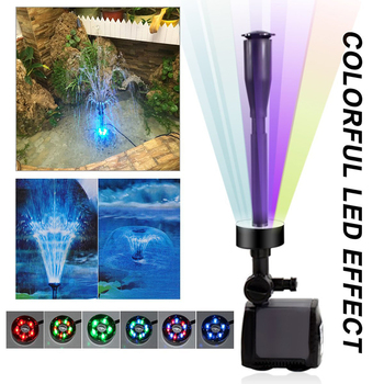 Submersible Aquarium Water Pump with 15 PCS Multi Color Changing LEDs for Hydroponics Garden Pond Fish Tank LED Fountain Pump