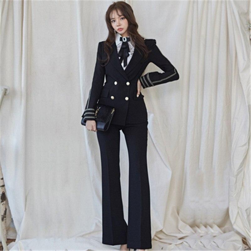 Runway Fashion Office Ladies Suit Temperament Slim Fit Autumn Winter New 2 pcs Blazer Suits Business Work Outfits Ensemble Femme