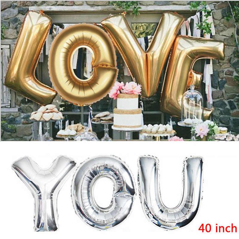 16 32 40 дюймов с днем рождения воздушный шар из фольги буквы воздушные шары в форме букв Свадебные украшения детские игрушки для младенцев душ воздушный шар
