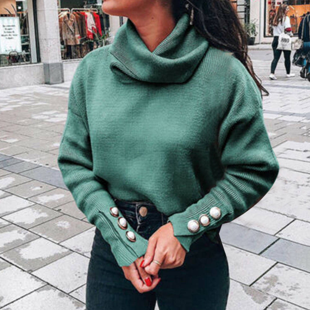 Turtleneck Sweaters Women Pullover Oversize Sweater Buttons Female Jumper Plus Sweater Green Blue Casual Sweater Jumper