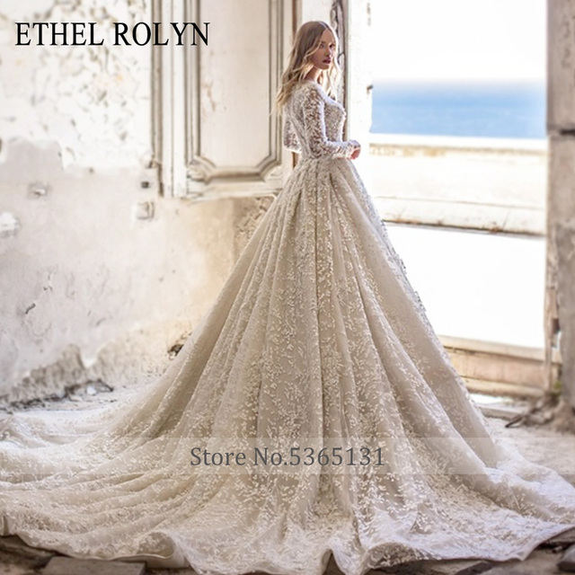 ETHEL ROLYN A-Line Lace Wedding Dress 2021 Romantic V-neck Long Sleeve Beading Appliques Bride Dresses Princess Bridal Gowns 2