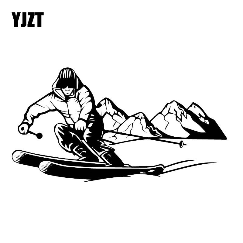 YJZT 10CM*18.9CM Brave Ski Adventure Sticker Decorative Car Vinyl Decal Black/Silver C30-0437