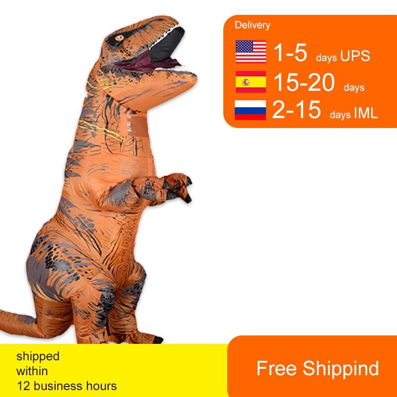 T rex velociraptor traje inflável mascote cosplay dinossauro dino halloween para mulher