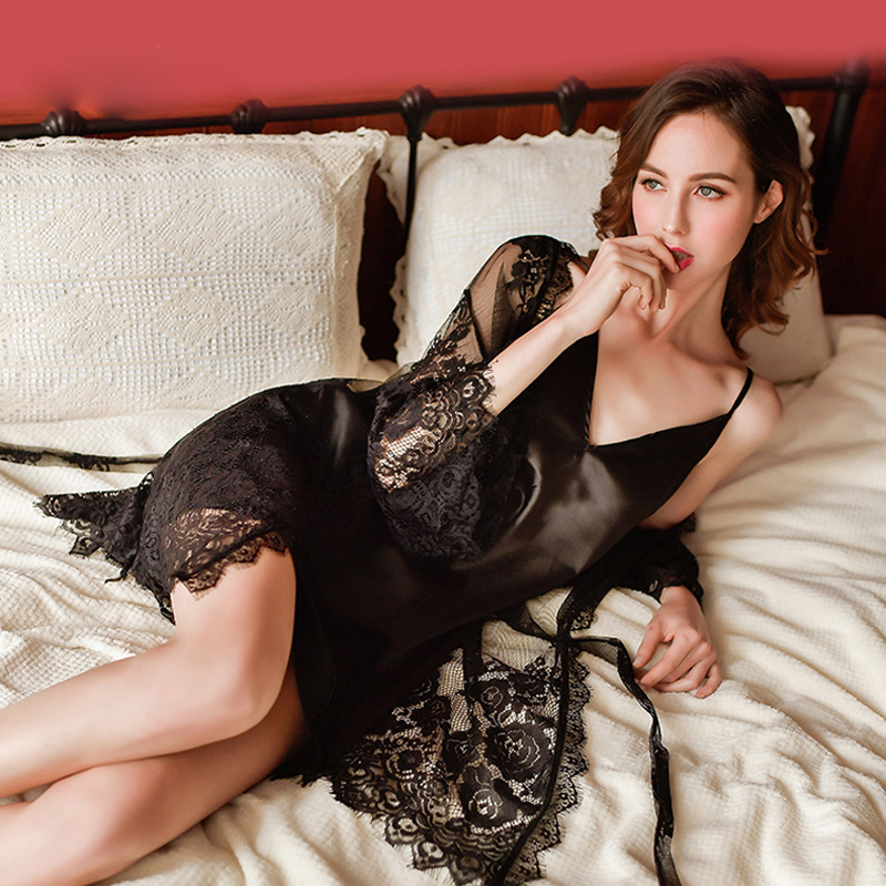Autumn New Black White Female Lace Cardigan Perspective Nightgown Robe Strap Nightdress Home Service 2 Piece Suit ML