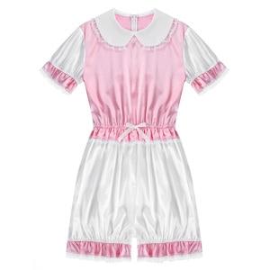 Image 3 - Hot Sexy Men Crossdressing Sissy Dress Silky Satin Short Puff Sleeves Lace Trim Romper Bodysuit Adult Baby Cross Dresser Costume