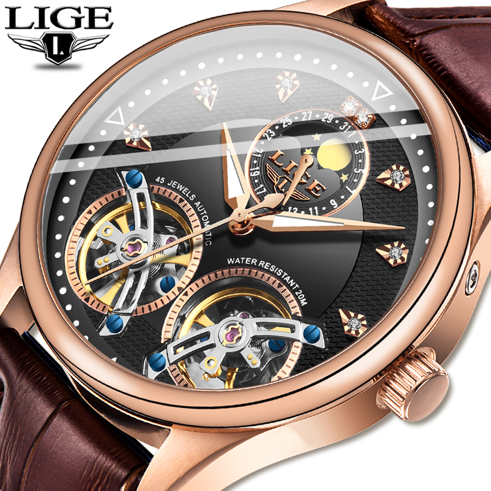 Free shipping LIGE Top Brand Luxury Business Men Watches Automatic Mechanical Tourbillon Watches Sports Leather Waterproof Clock