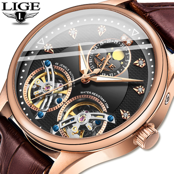 Free shipping LIGE Top Brand Luxury Business Men Watches Automatic Mechanical Tourbillon Sports Leather Waterproof Clock - discount item  90% OFF Men's Watches