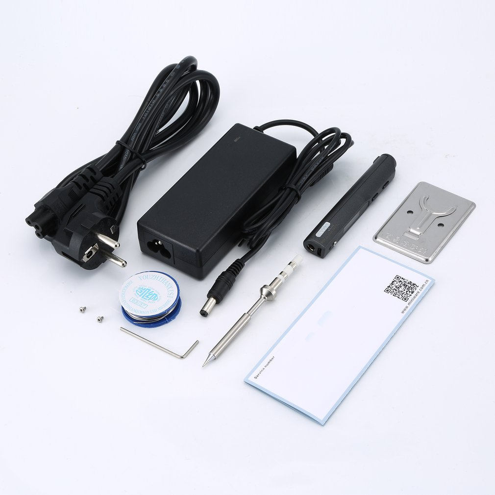 TS100 65W Mini Electric Soldering Iron Kit Digital OLED Display Temperature Adjustable With Solder Stand Solder Wick Set