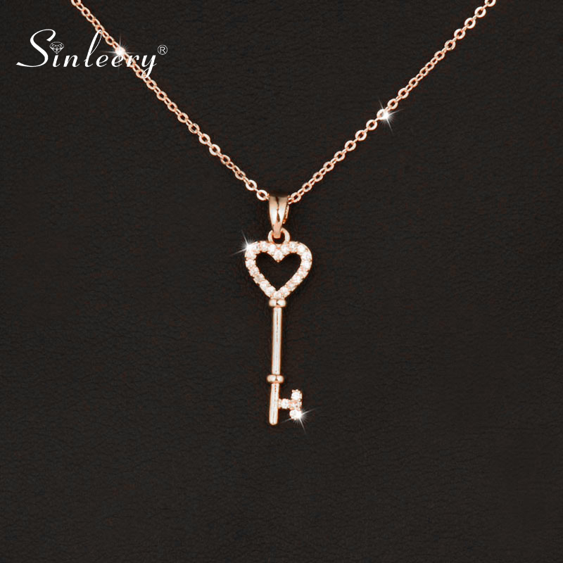 SINLEERY Sweet Micro Pave Crystal Heart Key Pendant Necklace For Women Wedding Jewelry Rose Gold Silver Color XL065 SSA