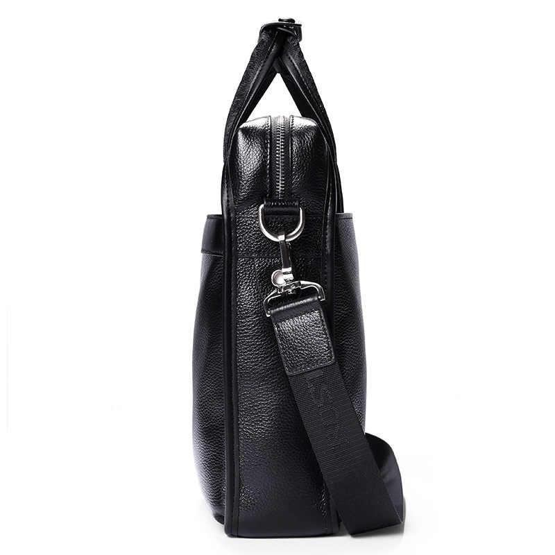 Bostanten 100% haut en cuir véritable vachette épaule loisirs sac pour hommes affaires messager mallette Portable ordinateur Portable sac décontracté