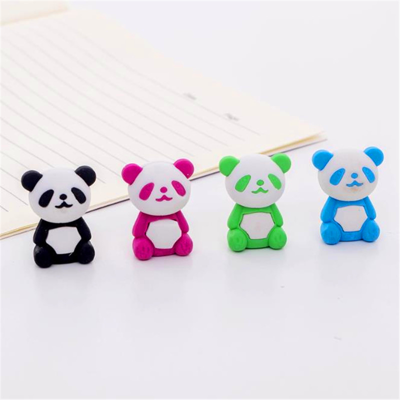 1Pcs Cute Cartoon Eraser Lovely Panda Eraser Children Stationery Gift Prizes Kawaii School Office Supplies