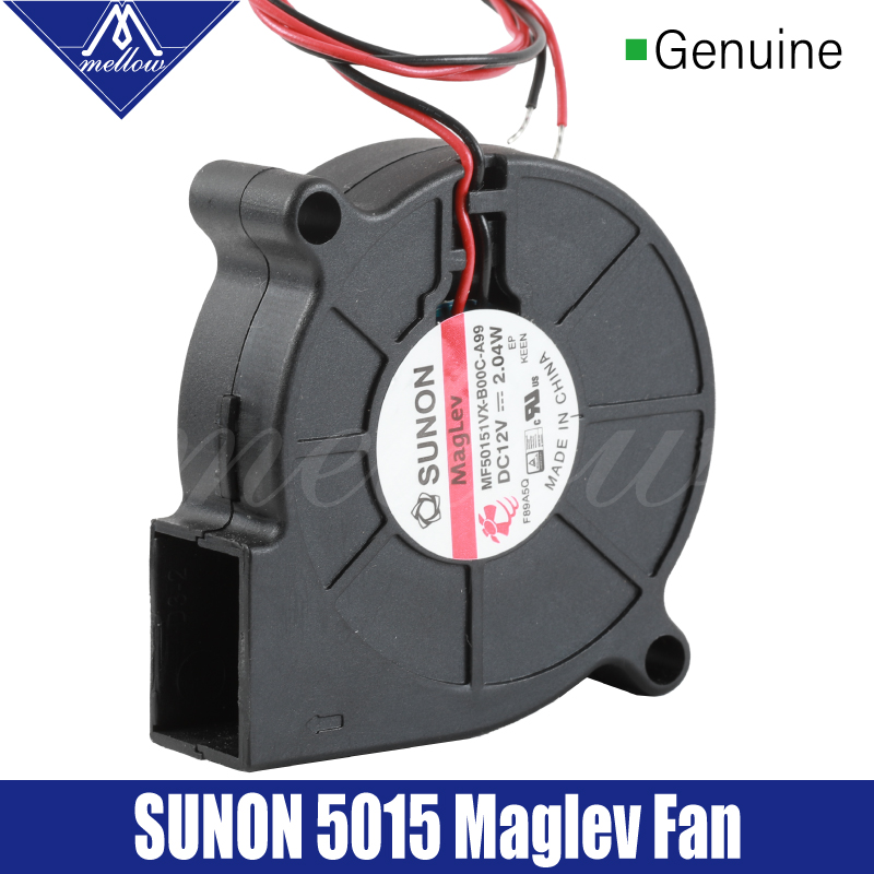 Mellow Sunon 3D Printer Blower Fan 5015 12V (Up 24V)0.17A Magnetic Suspension Bearing Fan Centrifugal DC Cooling Turbo Fan 5015S