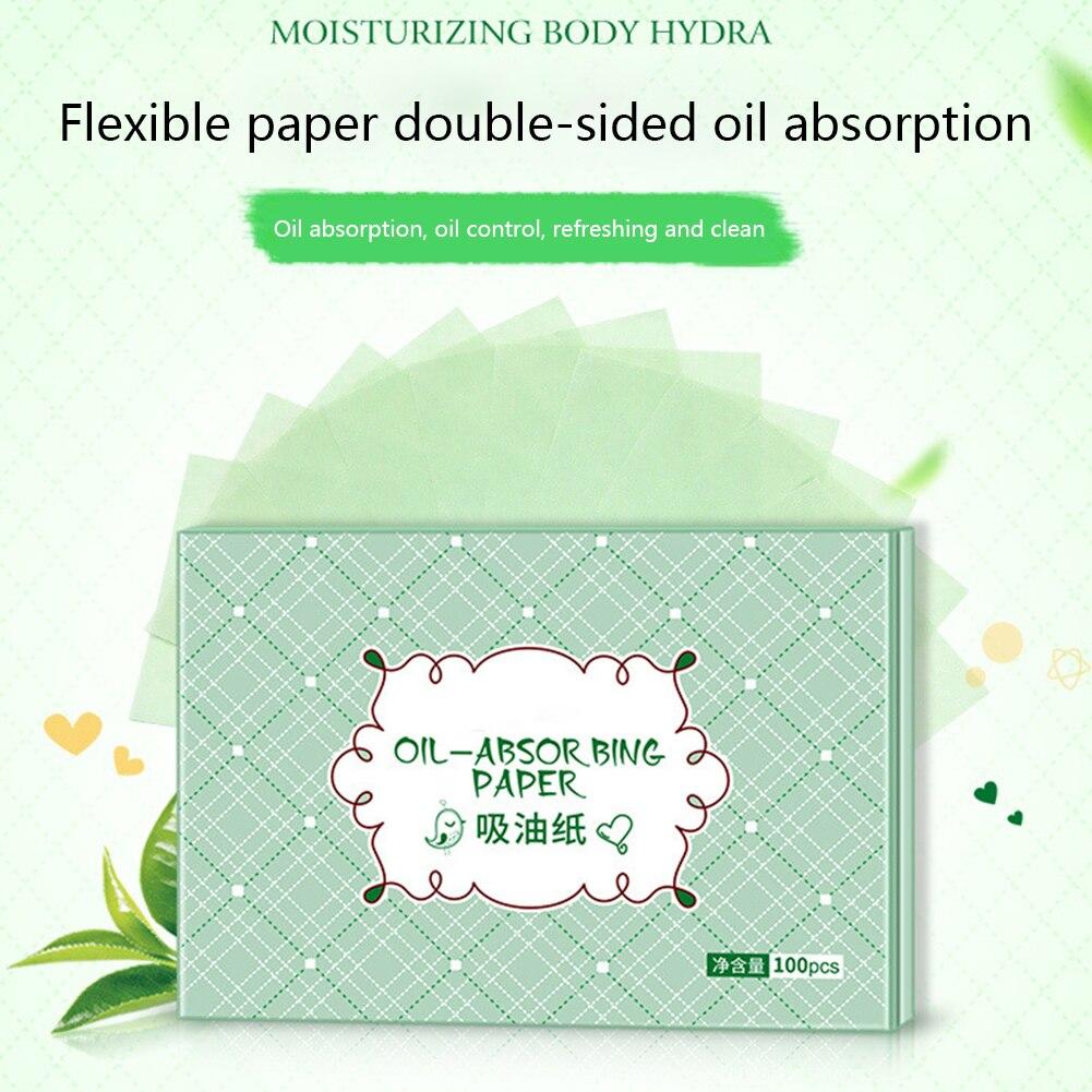 100pcs Face Tool Facial Clean Make Up Refreshing Mild Balance Grease Professional Green Tea Smell Skin Care Blotting Soft
