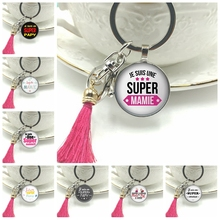 2019 New Hot Super Mamie Fancy Key Chain Round Glass Convex Papy Dome Charm Embossed Keychain Ornament