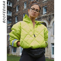 BOOFEENAA Women Coats and Jackets Winter Wear Neon Green Puffer Quilted Jacket Padded Bubble Coat Casual Loose Parka C87 BD43