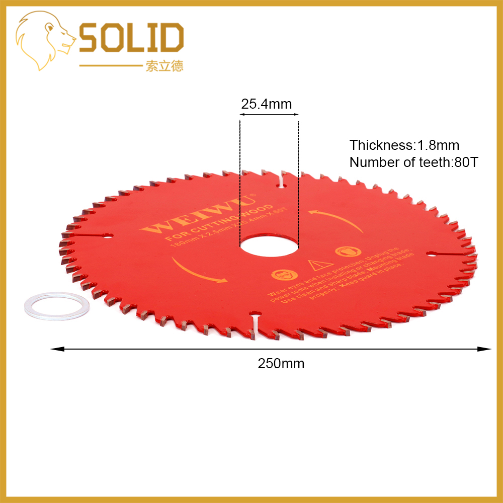 250mm Carbide Circular Saw Blade Wood Cutting Blade Round Wheel Discs For Woodworking Cutting Bore 25.4mm 40/60/80/100/120T Red