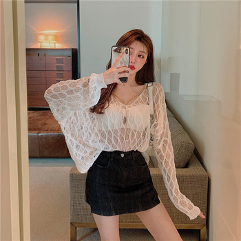 New sexy hollow flower fairy loose chain long sleeve knitted top flower embroidered long sleeve ruffled top