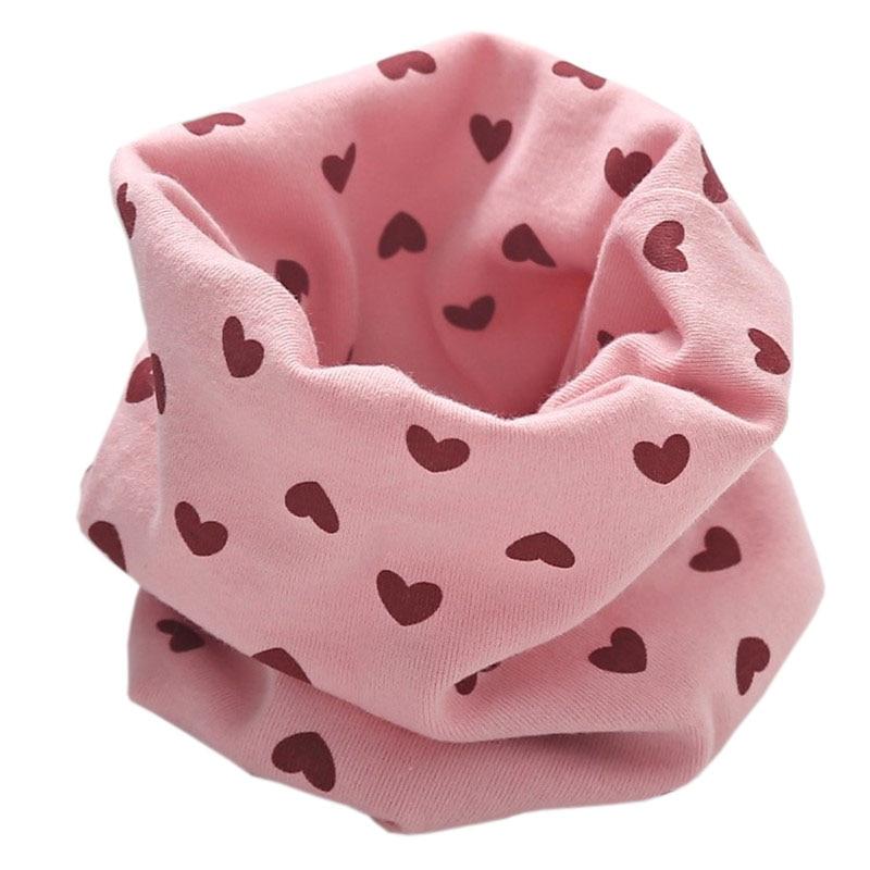 Новинка; Модный хлопковый шарф для маленьких девочек; осенне-зимний шарф для маленьких мальчиков; Детский шарф с круглым вырезом; Детские шарфы; волшебный шейный платок - Цвет: light pink heart