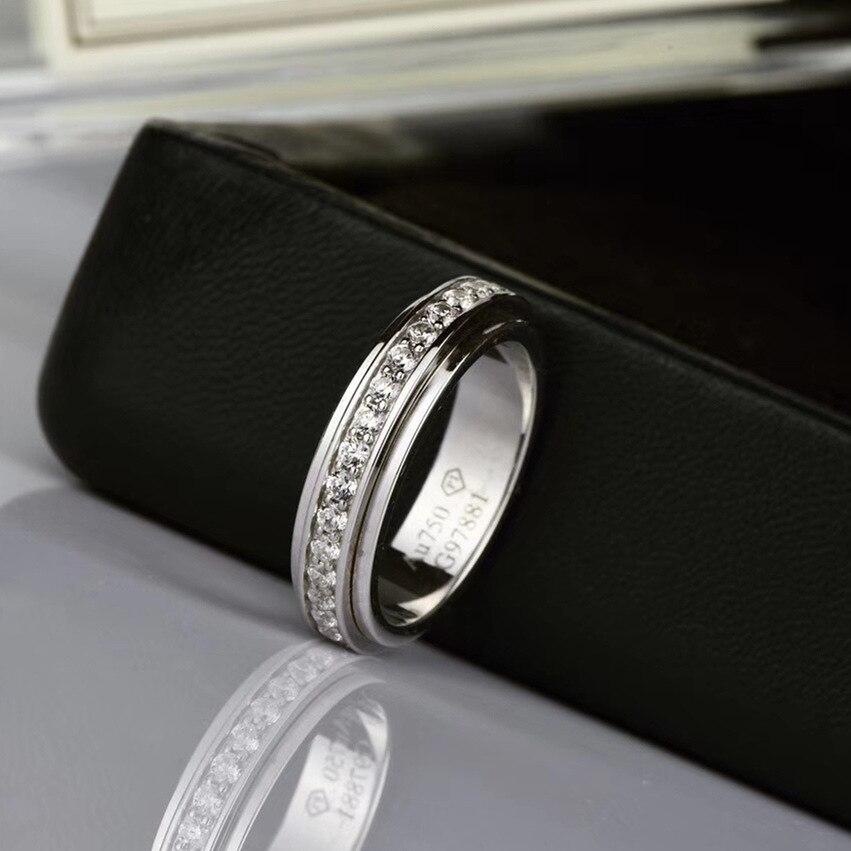 CNC anneau rotatif anneau rotatif avec Zircons AAA Simple S925 argent Diamons Couple anneaux femmes mariage anniversaire anneaux