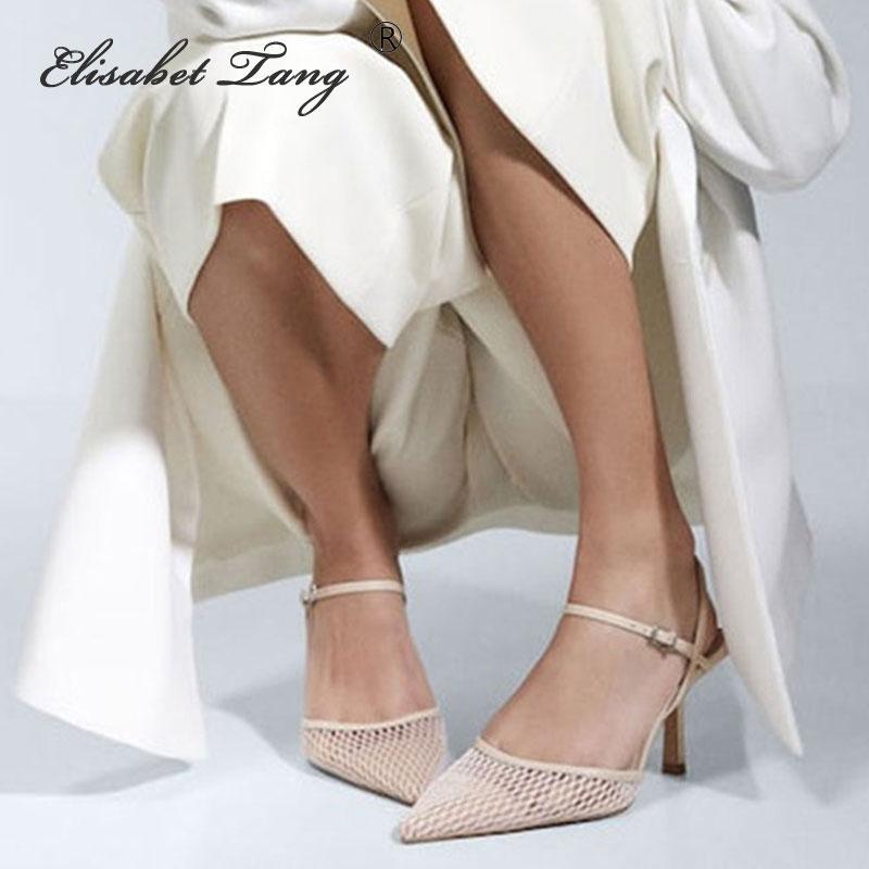 ElisabetTang Spring Women Dress Shoes Thin Heel Buckle Strap Women Slingbacks Pumps Summer Sandals Black Size 35-40 Women's Shoe