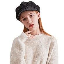 Одноцветная военная шапка, удобные Восьмиугольные шляпы, модная женская Вельветовая теплая шапка, восьмиугольная кепка, берет, остроконечная Кепка