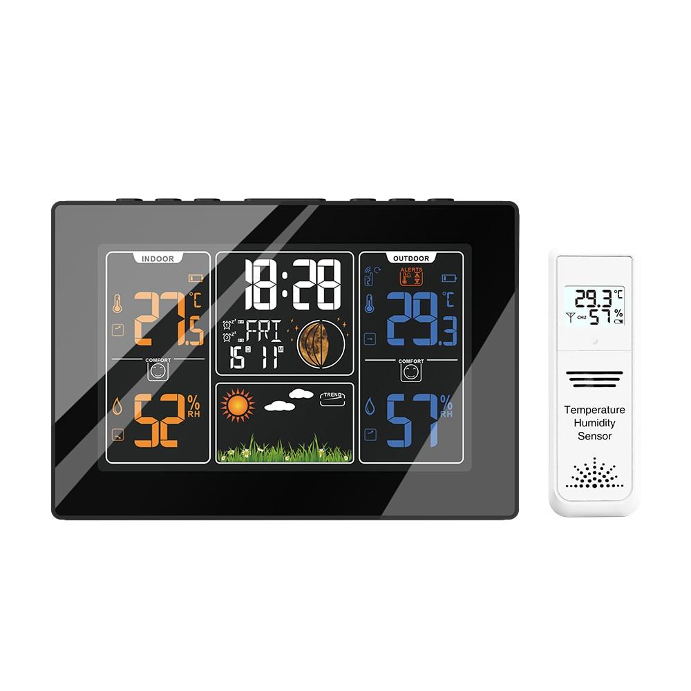 201c higrômetro termômetro sensor relógio de parede in/outdoor sem fio digital automático estação previsão do tempo controle rádio