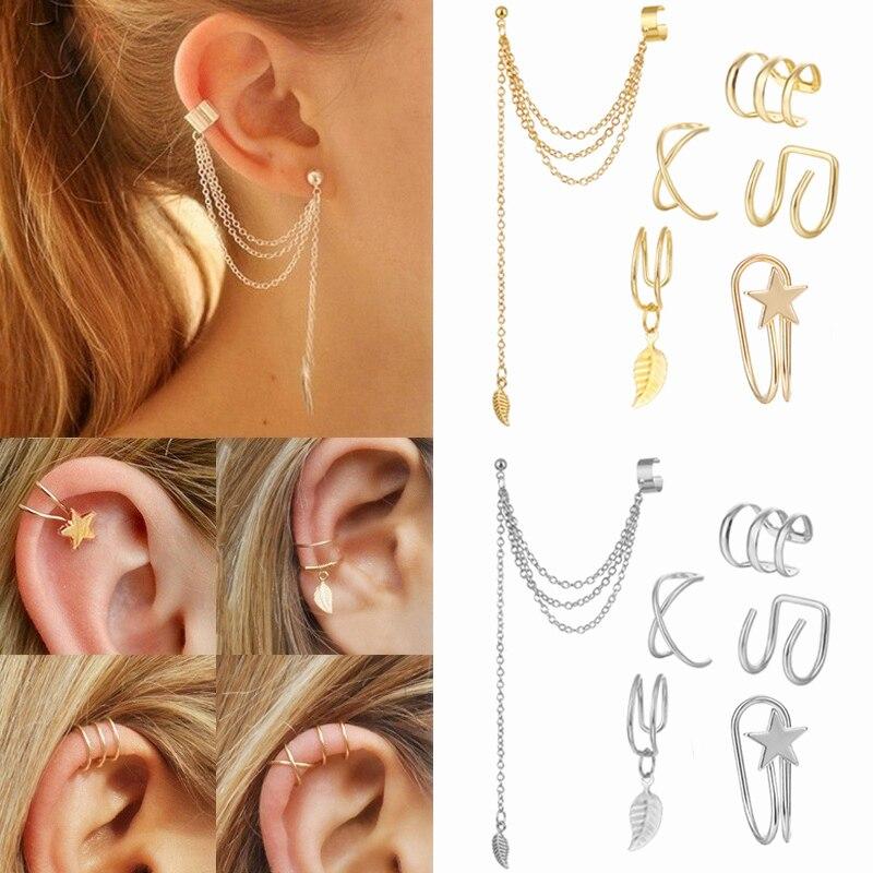 Fashion Star Blatt Kreuz Geometrische Ohrringe Gold Farbe Ohr Manschetten Ohrringe für Frauen Earcuff Keine Piercing Ohr Manschette Clips Schmuck