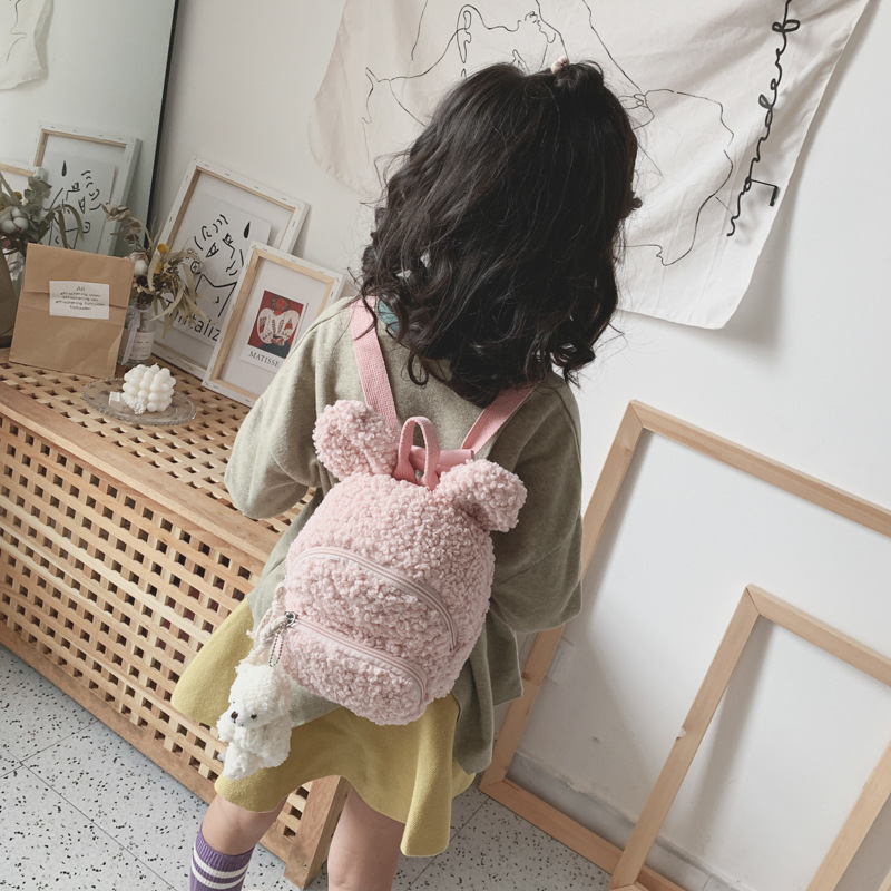 Korean-style Children's Bags 2019 Autumn And Winter New Style Backpack Simple Plush Rabbit Backpack Fashion Men And Women Childr