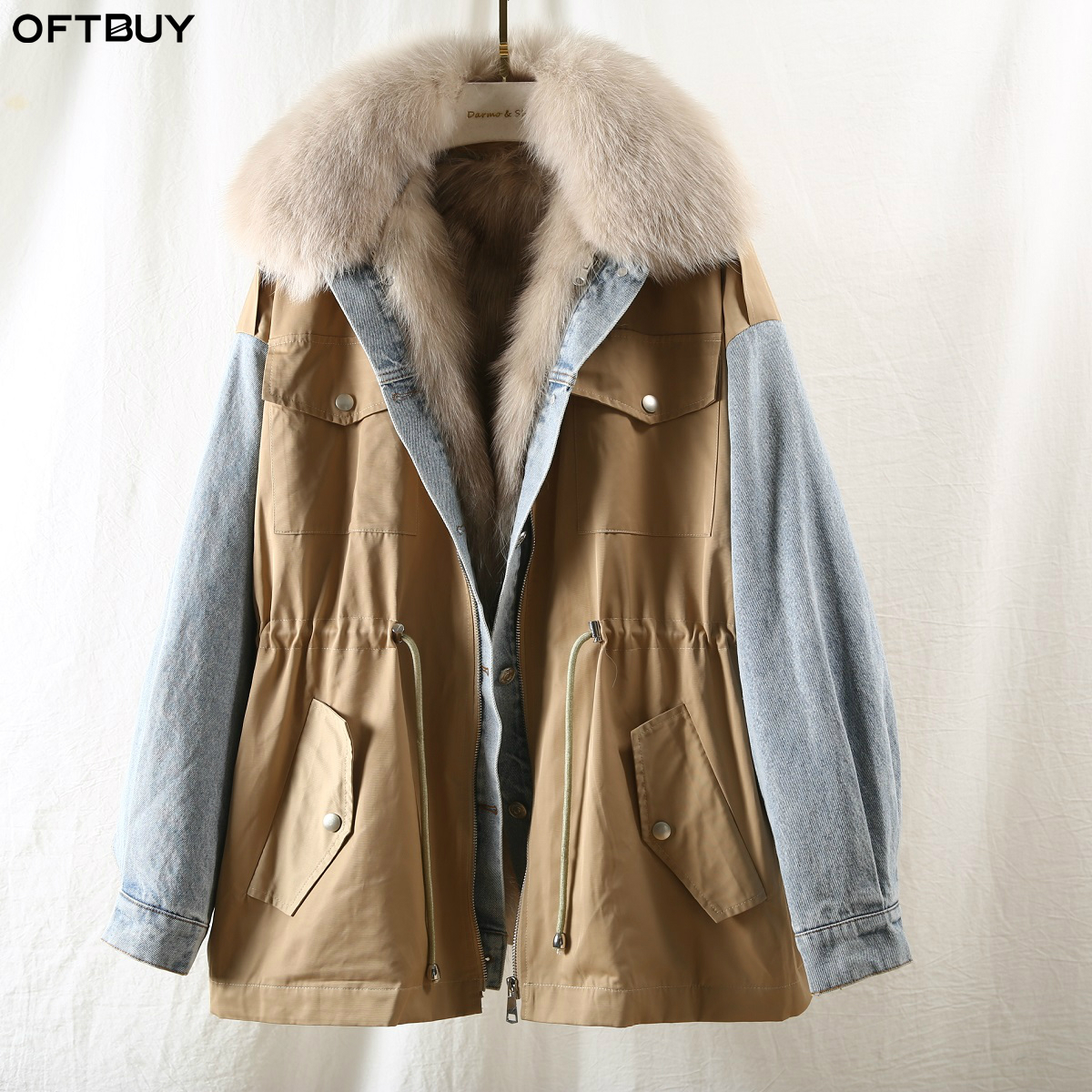 OFTBUY 2019 Safari Style Denim Patchwork Parka Real Fur Coat Winter Jacket Women Natural Fox Fur Collar And Liner Warm Outerwear