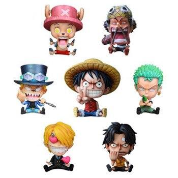 NEW One Piece Childhood sabo Luffy Ace Chopper Sanji Roronoa Zoro GK Q Sitting Ver. Bottle Hugging PVC Action Figure Model Toy недорого