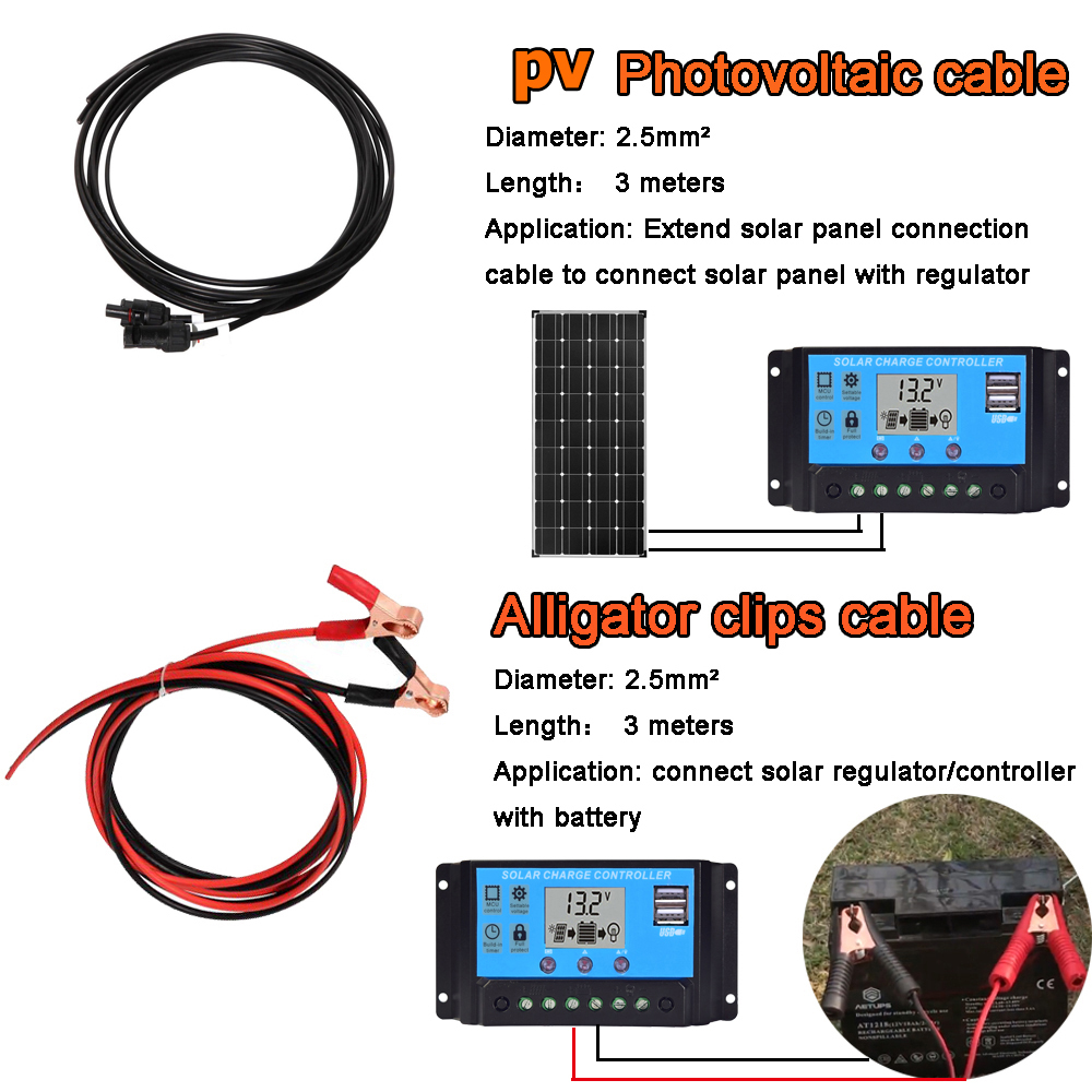 bateria kit com controlador solar 5v usb carro ao ar livre