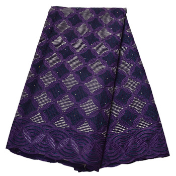 Purple African Swiss Voile Lace In Switzerland High Quality Lace White Blue Red Nigerian Embroidered Cotton Material For Dress