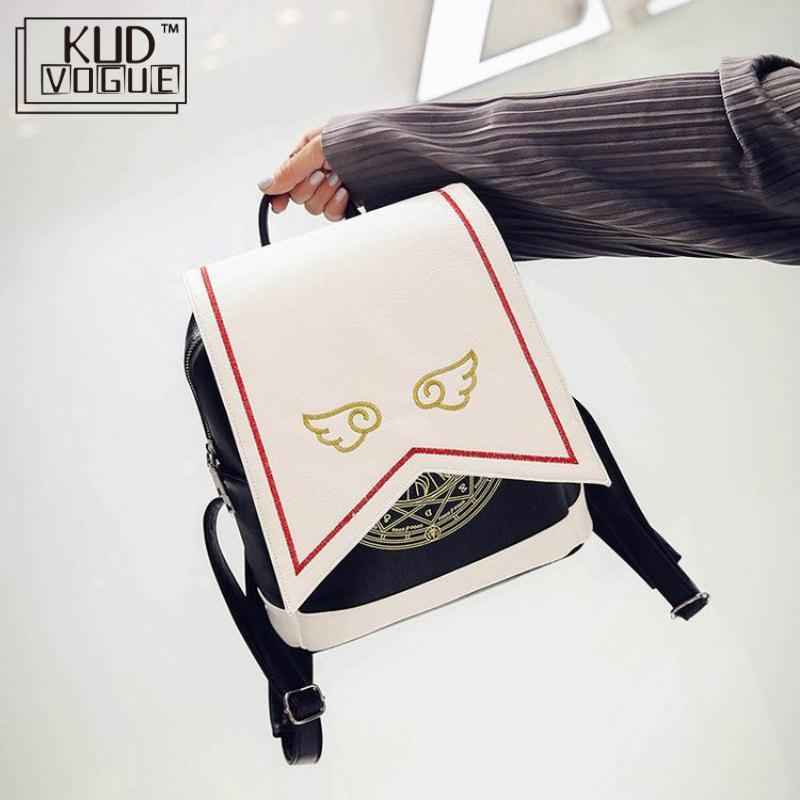 Kawaii Backpack Pu Women Backpack With Angel Wings Anime Card Captor Sakura Mini Cardcaptor Sakura Printing Cute School Bags Sac