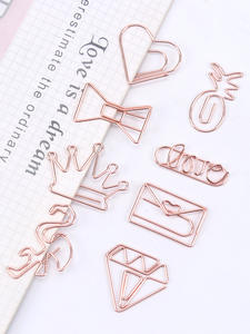 Stationery Paper-Clip Office-Supply Metal-Plating Rose-Gold Bookmark Modeling School