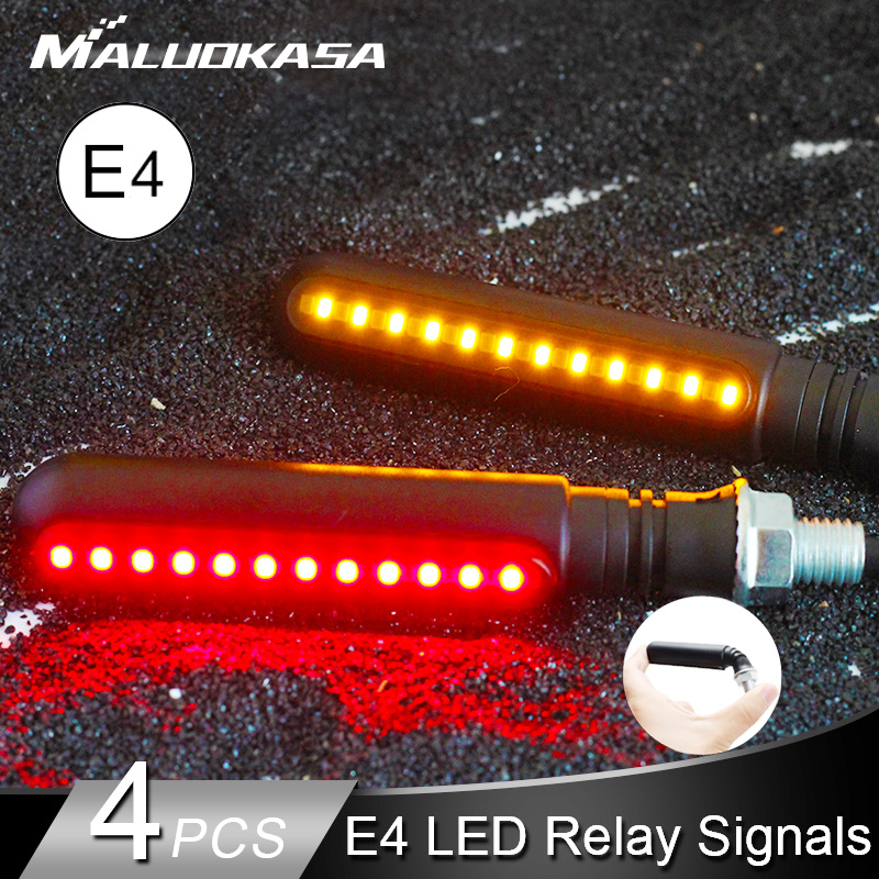 LED Turn Signals Motorcycle 4E Mark LED Flowing Water Flashing Lights Stop Signal Tail title=